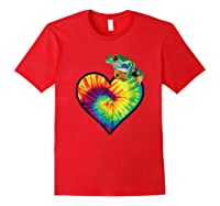 Tie-dye Heart Love Tree Frog Cute Funny Colorful T-shirt Red