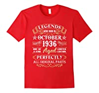Legends Were Born In October 1936 84th Birthday Gifts T-shirt Red