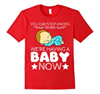 Baby Family Pregnant Mother Daughter Son Design Having Baby Shirts Red
