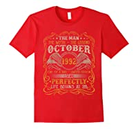 October 1992 Man Myth Legend 28th Birthday 28 Years Old Shirts Red