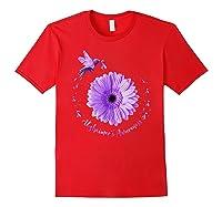 Hummingbird Sunflower Purple Ribbon Alzheimer's Awareness Shirts Red