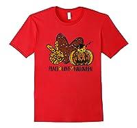 Peace Love Halloween Leopard Print Pumpkin Custom Gift Premium T-shirt Red