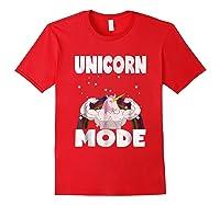 Unicorn Mode Rainbow Stars Hustle Muscle Work Party Shirts Red