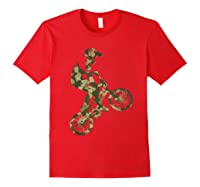 Racing Extreme Sports Bike Rider Camouflage Design Shirts Red