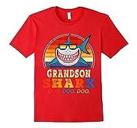 Vintage Grandson Shark T-shirt Birthday Gifts For Family Red