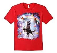 Laser Eyes Space Cat On Dinosaur - Rainbow T-shirt Red