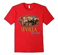 Sevilla Spain Watercolor Family Souvenir Shirts Red