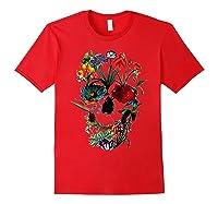 Skull Flowers Tulip Sugar Skull Tree Floral Skull Rose T-shirt Red