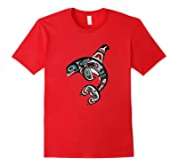 Orca Killer Whale Pacific Northwest Alaska Native American Shirts Red