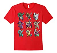 Funny Pug Halloween Pug Pumpkin Dabbing Pug Unicorn Witch Shirts Red