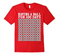 Soccer Ball 100 Days Of School Shirt Player Tea Boy Gift Red