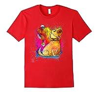 Pixar Up Dug Watercolor Rainbow Graphic Shirts Red