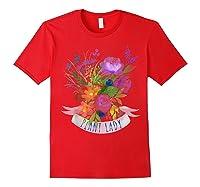 Plant Lady Shirt Gardening Gift Watercolor Flower Garden T-shirt Red