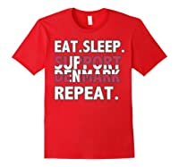 2018 Eat Sleep Support Denmark T-shirt Soccer Fan Red