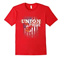 Union Pride American Flag Eagle Labor Day Usa Worker Shirts Red