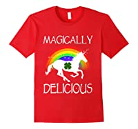Magically Delicious Unicorn St Patrick's Day Ns Shirts Red