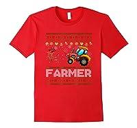 Tractors Farmer Christmas Funny Farming Xmas Gift Shirts Red