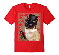 Steampunk Cat - Siamese With A Top Hat, Goggles, And Gears T-shirt Red