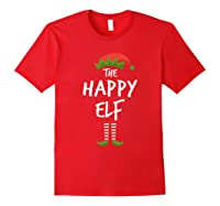 Happy Elf Matching Family Christmas Group Party Pajama Shirts Red