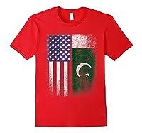 Pakistan Usa Pakistani American Flag Pride Shirts Red