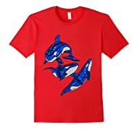 Pod Of Orca Whales T-shirt Red