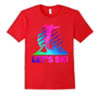 Retro Ski Vintage 80s 90s Skiing Out Shirts Red