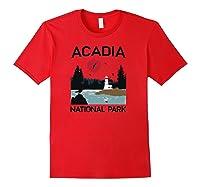 Vintage Acadia National Park Retro 80s Maine Mount Island Shirts Red