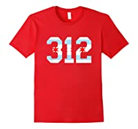 312 Chicago Flag Area Code City Pride T Shirt Red