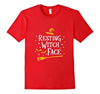 Resting Witch Face Shirt Broomstick Funny Spooky Party Tank Top Red