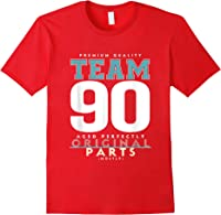 90th Birthday Funny Gift Team Age 90 Years Old T-shirt Red