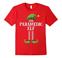 Paramedic Elf Matching Family Group Christmas Party Pajama Shirts Red