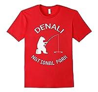 Alaska Denali National Park Bear Fishing Silhouette T-shirt Red