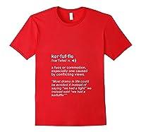 Weird Cool Funny Words Lover Kerfuffle Geek T Shirt Red