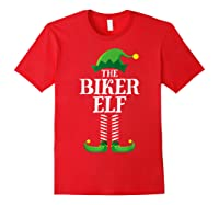 Biker Elf Matching Family Group Christmas Party Pajama T-shirt Red