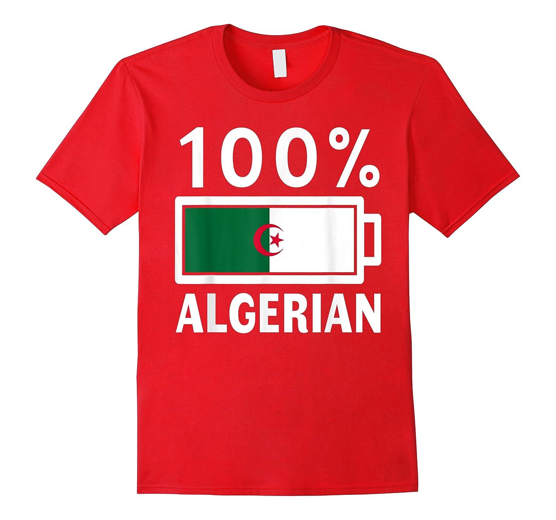 Algeria Flag T Shirt 100 Algerian Battery Power Tee