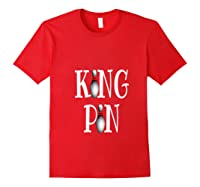 Bowling King Funny Quote Pun Gift Design Shirts Red