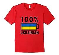 Ukraine Flag Design 100 Ukrainian Battery Power Tee Tank Top Shirts Red