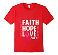 Breast Cancer Pink Ribbon Awareness Month Support Faith Hope T Shirt Red