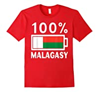 Madagascar Flag T Shirt 100 Malagasy Battery Power Tee Red
