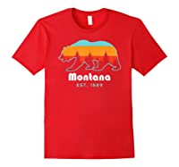 Montana 1889 Wilderness Mountain Wildlife Bear Tshirt Red