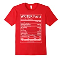 Writer Facts Storyteller Nutrition Information T Shirt Red