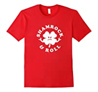 Shamrock And Roll Funny Saint Patricks Day Premium T Shirt Red