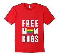 Lgbt X Pride - Cute Mother Distressed Lgbt Free Mom Hugs T-shirt Red