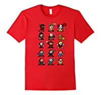Friends Pixel Halloween Icons Scary Horror Movies Premium T Shirt Red