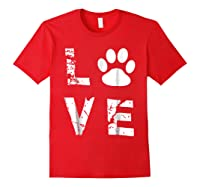 Love Animal Pet Dog Cat Paw Valentine S Day Funny T Shirt Red