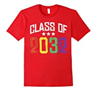 Class Of 2032 Color Stars Grow With Me Kindergarten Gift Shirts Red