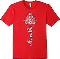 Breathe Mandala Lotus Meditation Yoga T-shirt Om Breathing T-shirt Red
