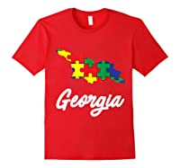 Autism Awareness Day Georgia Puzzle Pieces Gift Shirts Red