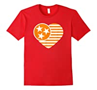 Tennessee Flag Shirt Vintage Distressed Usa Heart T Shirt Red