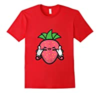 Strawberry Rock Roll Rocker Gift Sign Of Horns Shirts Red